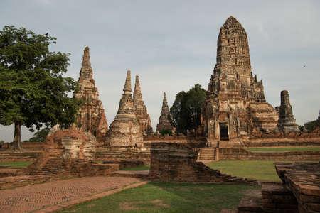 Ancient pagoda architecture Wat Chaiwatthanaram Ayutthaya in Thailand