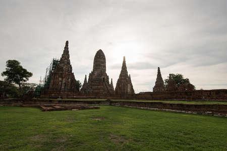 Old Temple Architecture , Wat Chaiwatthanaram at Ayutthaya, Thailand