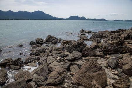 Rock and Sand beach, Landscape of Koram Island, Sam Roi Yod National Park, Prachuap Khiri Khan Province, Thailand