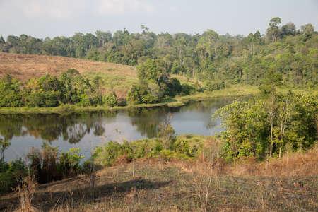 View over a Nong Pakchee waterhole in Khao Yai National Park, Thailand
