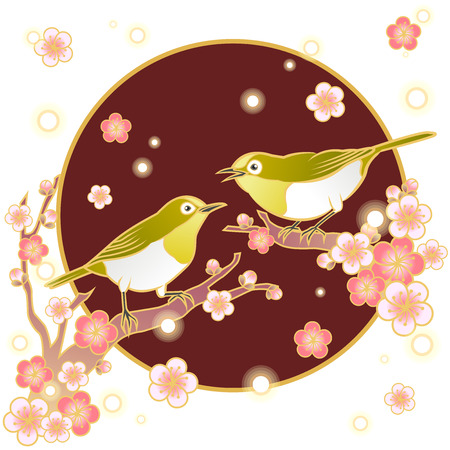 japanese white eye bird and plum blossom  イラスト・ベクター素材