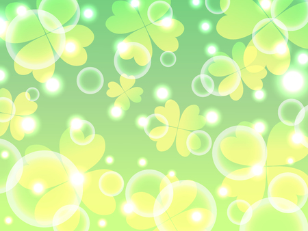four leaf: four leaf clover and bubble green fresh abstract background