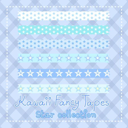 kawaii lovely fancy tape star collection vector