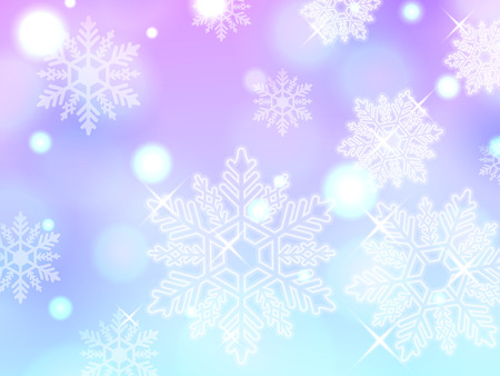 blue pink snowflake winter powder snow illustration background vector
