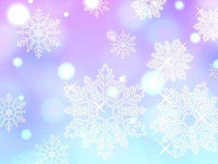 powder snow: blue pink snowflake winter powder snow illustration background vector