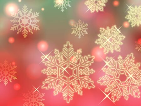 christmas green red gold snowflake winter powder snow illustration background vector
