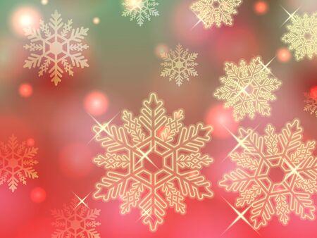 powder snow: christmas green red gold snowflake winter powder snow illustration background vector