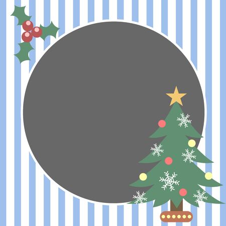 holly berry: christmas tree holly berry blue illustration frame vector