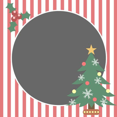christmas tree holly berry red illustration frame vector