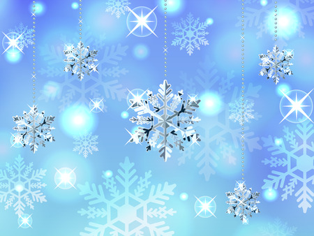 crystal snowflake winter powder snow illustration background vector  イラスト・ベクター素材