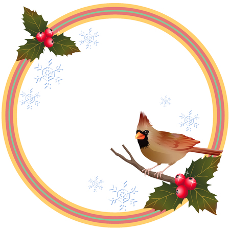 brown cardinal bird and holly berry christmas frame illustration vector