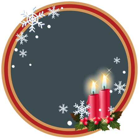 red candle light christmas greeting frame  illustration vector  イラスト・ベクター素材