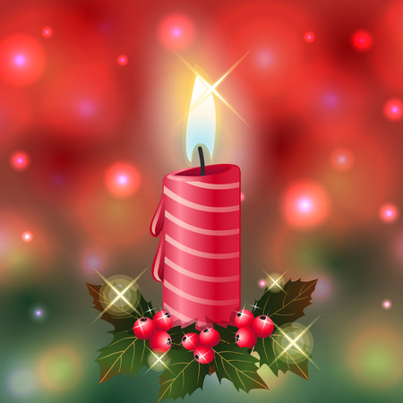 red candle light christmas green red background  illustration vector