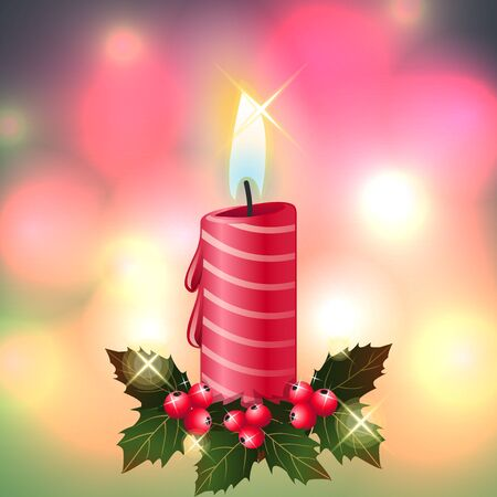 red candle light christmas pink gold background  illustration vector