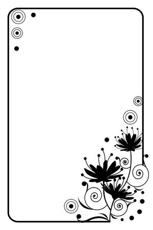 decorative abstract flower art black frame illustration vector Фото со стока - 60130970