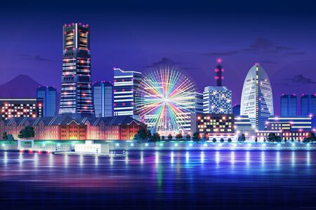 yokohama japan blue light night cityscape illustration