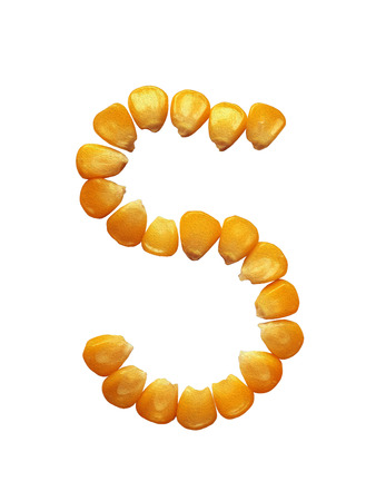 Ripe corn isolated. The lucky numbers of grains corn on a white background. Stock Photo