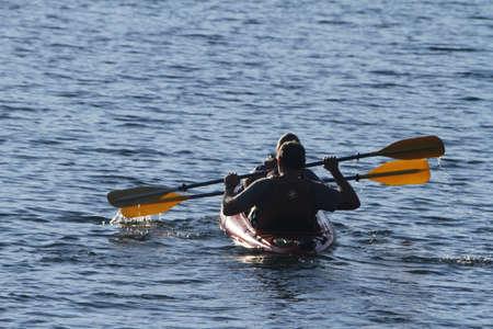 kayaker: Yellowstone Grand Tetons kayaker Stock Photo