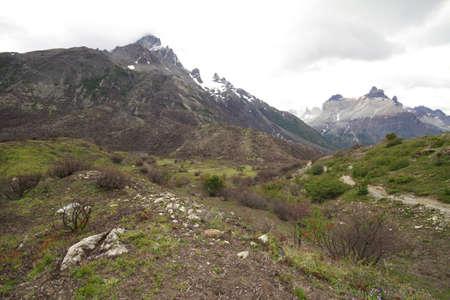 paine: W Trek on Torres Del Paine Park Stock Photo