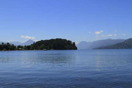 lake district: Lican Ray Lake District Chile Stock Photo