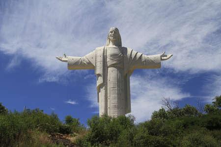 イエスは、コチャバンバ、ボリビアの像 写真素材
