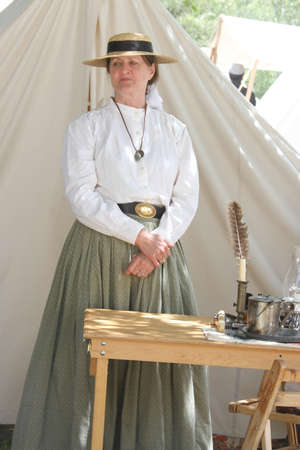 nurse station: Civil War Reenactment; nurse at station Editorial