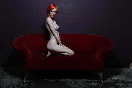 caucasian white: Photoshoot of a nude red head