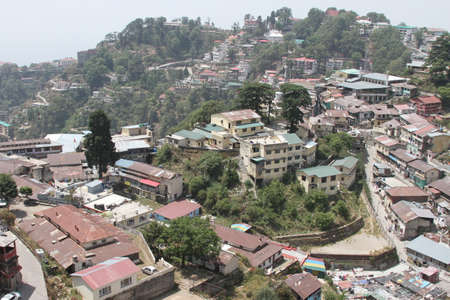 hill station tree: View of Mussoorie, Uttarkhand, India