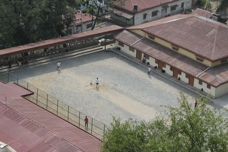 hill station tree: View of  children playing sports and cricket, Mussoorie, Uttarkhand, India Stock Photo