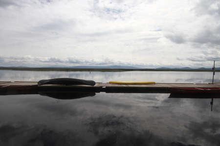 klamath: view of boats in a marina at klamath falls reserver; oregon; Stock Photo