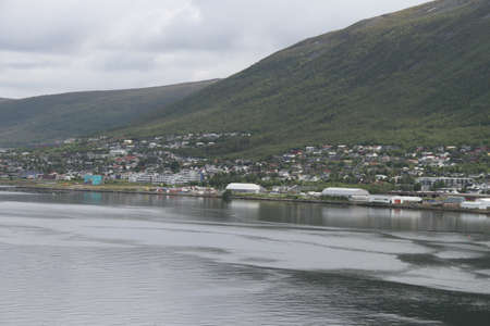 City of Tromso, Norway, View of mountains, buildings, churches and fjords