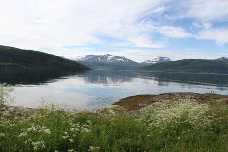 Islands of Kvaloya and Senja, Norway, Mountains, lakes, fjords Stock Photo