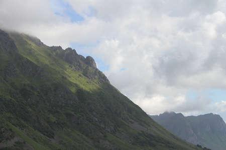 Mountains, lakes, and fjords in Lofoten peninsula, Norway, Stock Photo