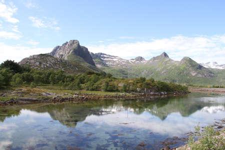 Lofoten peninsula, Norway, Mountains, lakes, and fjords Stock Photo