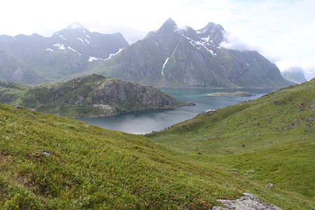Lofoten peninsula, Norway, Mountains, lakes, and fjords Фото со стока