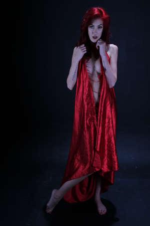 Foto's van een roodharige in de studio Stockfoto