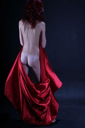 Fotoshoot van een roodharige in studio