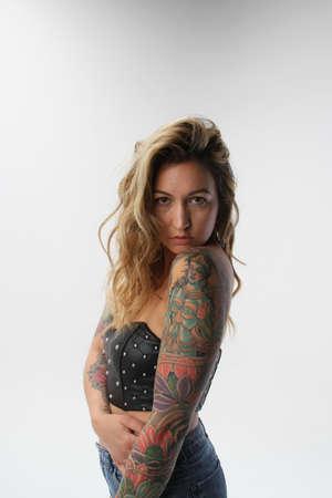 Photoshoot of a tatooed female model