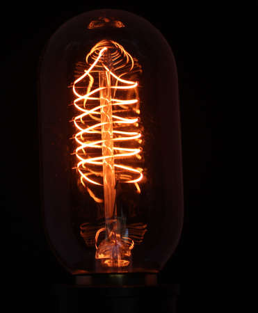 Close up of a Vintage bulb glowing Stok Fotoğraf