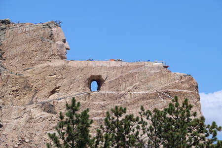 view of Monument to Crazy horse in south dakota Banque d'images - 129256144