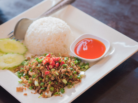 admixture: Fried garlic with rice and pepper sauce. Thai style native food