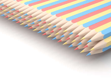 writing instruments: Colored pencils of red blue and yellow arranged in pattern on white background. 3D illustration.