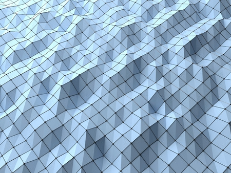 nodal: Modern science abstract polygonal geometric shapes background weaved by wire mesh structures nodal . Shapes linked in 3D space shade with bright light. Top view of science low poly background 3D rendering.