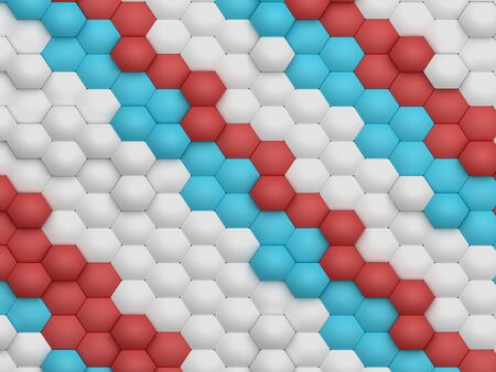 weaved: Modern science abstract hexagonal honeycomb geometric shapes background weaved by mesh structures. Shapes linked in 3D space shade with bright light. Science background 3D rendering.