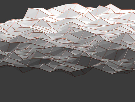 Modern science abstract polygonal geometric shapes background weaved by wire mesh structures nodal . Shapes linked in 3D space shade with bright light. Top view of science low poly background 3D rendering.
