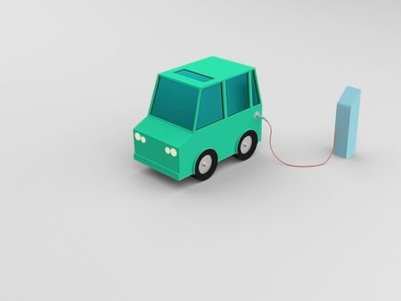 fuel and power generation: Electric vehicle at charge station in white background. Green low poly car charged by blue charger. Electric vehicle no need fuel energy.