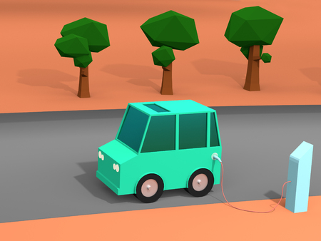 3d rendering of Electric vehicle at charge station. Green low poly car charged by blue charger. Electric vehicle no need fuel energy.