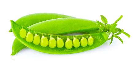 pea pod: Sugar snap pea on white background
