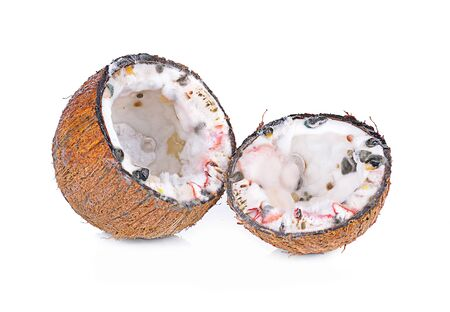 tropica: moldy coconut  on white background