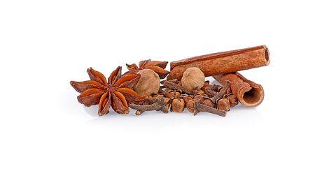 spiciness: Various seasonings on white background Stock Photo